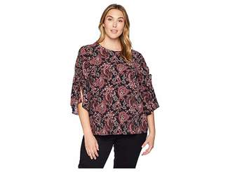 MICHAEL Michael Kors Size Sweatheart Paisley Short Sleeve Top
