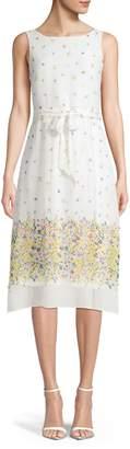 Karl Lagerfeld Paris Floral-Print Chiffon A-Line Dress