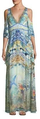 Camilla Deep-V Cold-Shoulder Peplum Maxi Coverup Dress