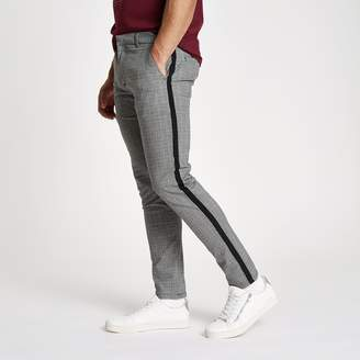 River Island Mens Grey check skinny fit tape chino trousers