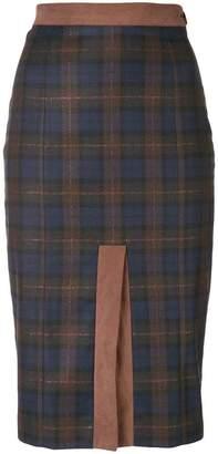 I'M Isola Marras front slit check skirt