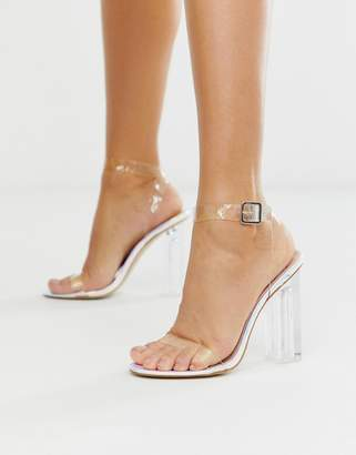 Public Desire Alia iridescent clear heeled sandals
