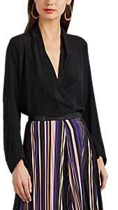 Zero Maria Cornejo Women's Jazmin Silk Reverse-Satin Surplice Top - Black
