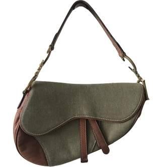 c78ec4324cef Christian Dior Vintage Saddle Green Cotton Handbag