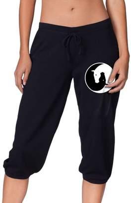 Yin & Yang Okbo-7 Womens Yin Yang Horses Cropped Trousers,Running Dance Activewear Sport Sweatpants