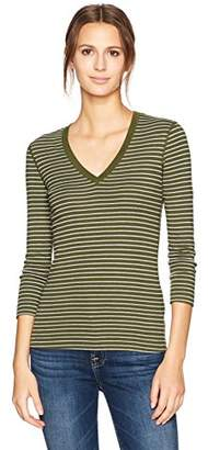 Three Dots Women's Tahoe Stripe 3/4 SLV Deep Neck Mid Shirt