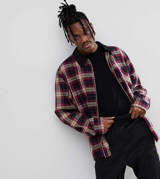 Reclaimed Vintage Inspired Check Coach Jacket With Contrast Collar