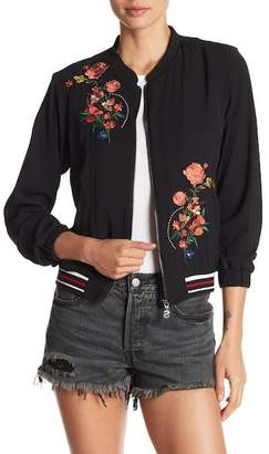 Desigual Front Zip Floral Embroidered Jacket