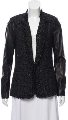 Rebecca Taylor Leather- Accented Wool Blend Blazer