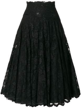 Olvi ́S flared lace-embroidered skirt