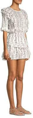 LoveShackFancy Natasha Ruffled Floral Mini Dress
