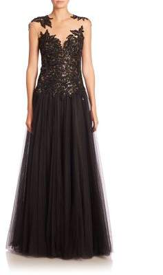 Basix Black Label Sequin Cap-Sleeve Gown