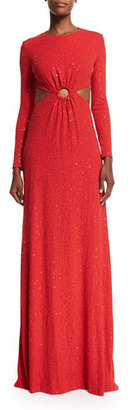 Michael Kors Long-Sleeve Embellished Gown W/Cutouts, Scarlet $9,995 thestylecure.com
