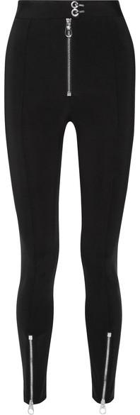 VersaceVersace - Zip-embellished Stretch-cady Leggings - Black