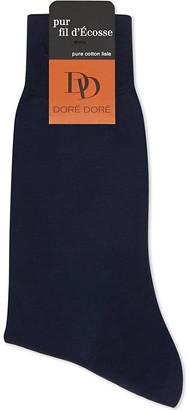 Dore Dore Solid flat knit cotton medium length socks