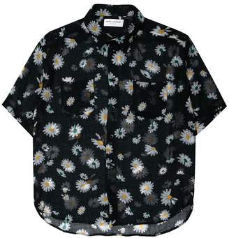 Saint Laurent daisy print sheer shirt