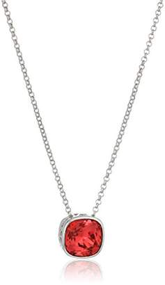 """Swarovski Sterling Silver Cushion Cut Indian Pink Solitaire Necklace Made with Crystal (18"""" + 2"""" Extender)"""