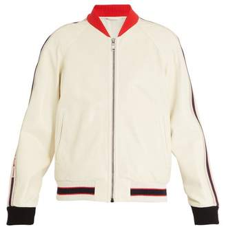 Gucci Logo Print Perforated Leather Bomber Jacket - Mens - White