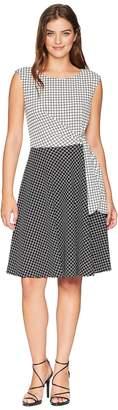 Tahari ASL Grid Pattern Side Tie Dress Women's Dress