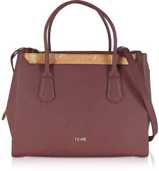 Alviero Martini Burgundy Saffiano Leather Tote Bag w/ Geo Print Details