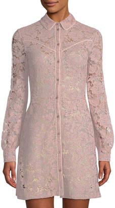 Valentino Long-Sleeve Mini Lace Shirtdress