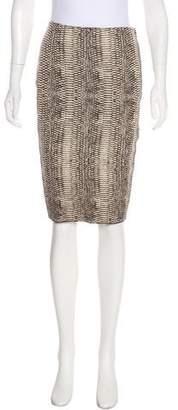Lanvin Silk Snakeskin Print Skirt