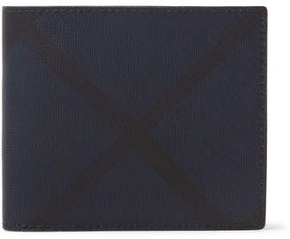Burberry Checked Coated-Canvas and Leather Billfold Wallet - Men - Navy