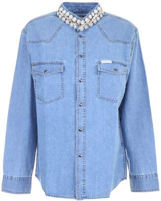 Couture Forte Denim Shirt With Pearls And Chains