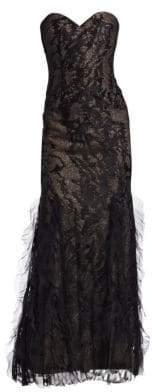 Rene Ruiz Strapless Embellished Gown
