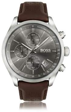 BOSS Hugo Stainless-steel sportswatch gray sunray dial & perforated leather strap One Size Assorted-Pre-Pack