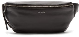 Saint Laurent Logo Printed Leather Belt Bag - Mens - Black
