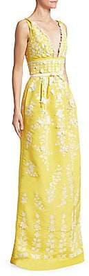 Oscar de la Renta Women's Floral-Embroidered V-Neck Column Gown