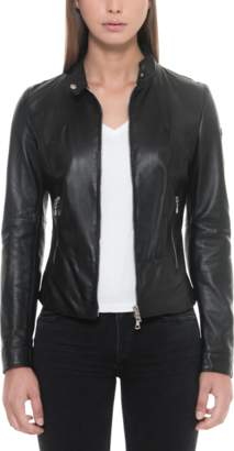 Forzieri Black Leather Women's Jacket w/Zip Pockets