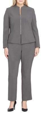 Tahari Arthur S. Levine Textured Peplum Zip Jacket and Pant Suit