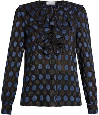 Sonia Rykiel Polka-dot fil coupé silk-blend blouse
