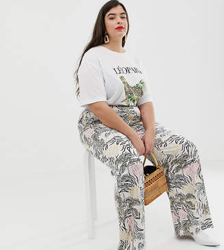 Neon Rose Plus wide leg pants in jungle print satin two-piece