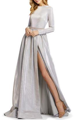 Mac Duggal Metallic Long-Sleeve A-Line Gown