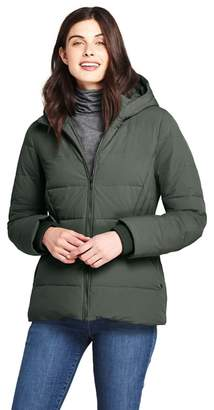 c99d8235e65 at Debenhams · Lands  End - Green Hooded Faux Fur Lined Down Jacket With  Stretch