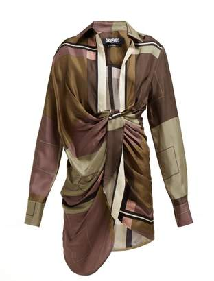 Jacquemus Bahai Knot Front Silk Mini Dress - Womens - Green Multi