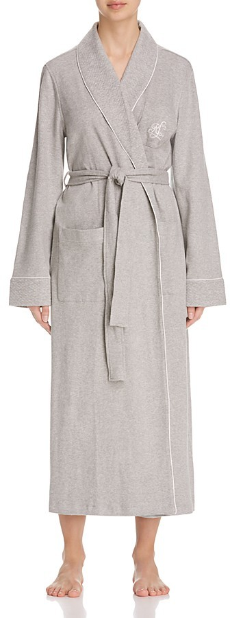 Lauren Ralph LaurenLauren Ralph Lauren Long Shawl Collar Quilted Trim Robe
