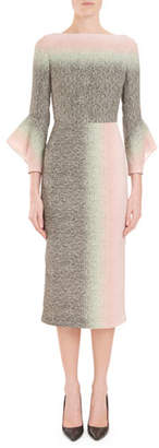 Roland Mouret Goodwin Fluted-Sleeve Degrade Sheath Midi Dress