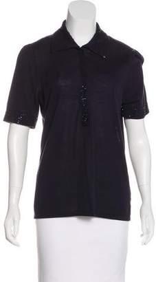 Magaschoni Embellished Short Sleeve Top