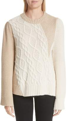 Co Patchwork Cable Knit Sweater