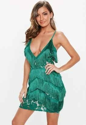Missguided Teal Lace Tassel Fringe Mini Dress