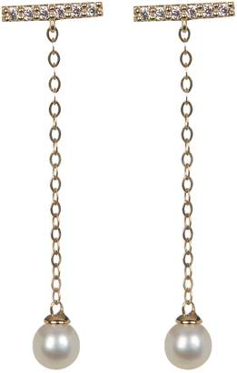 Candela 10K Yellow Gold Pave CZ & 12mm Freshwater Pearl Drop Earrings