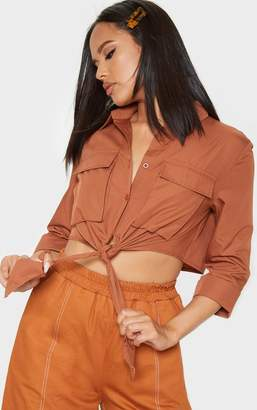 PrettyLittleThing Tan Military Pocket Front Knot Front Shirt