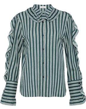 Sonia Rykiel Ruffle-Trimmed Striped Crepe Shirt