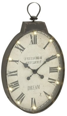 Benzara Vintage Themed Metal Led Wall Clock