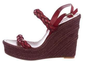 Valentino Leather Platform Wedge Sandals