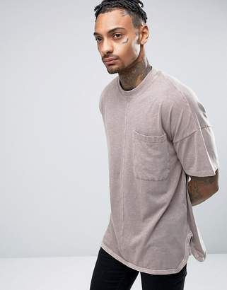 Asos DESIGN Oversized T-Shirt With Wide Sleeves And Curved Hem In Brown Wash